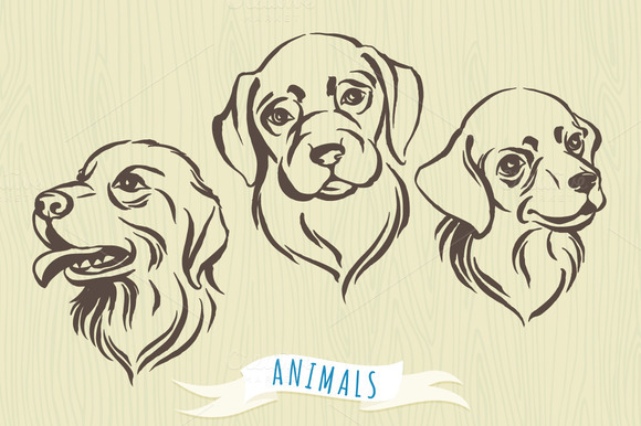 Set Of Hand-drawn Dog S Portraits