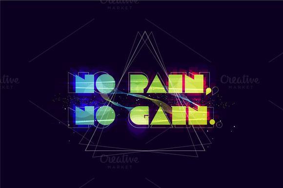 No Pain No Gain Typography Abstract