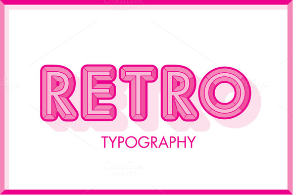 Pink Retro Typography Vector