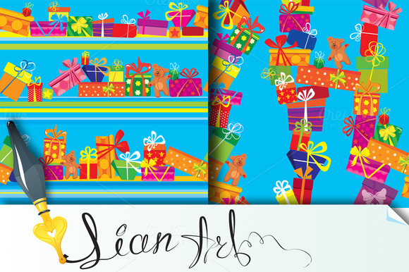 2 Seamless Patterns With Gift Boxes