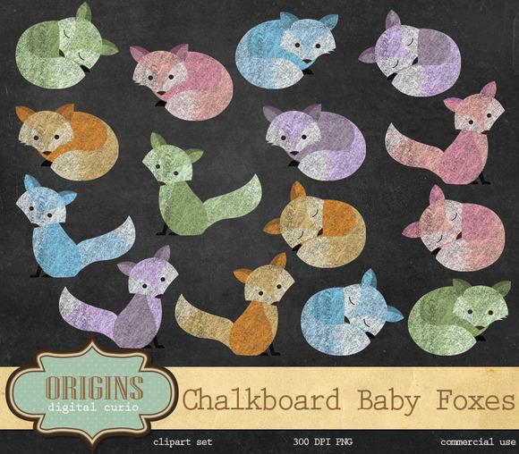 Chalkboard Baby Fox Clipart