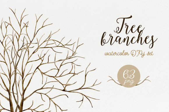 Tree Branches Watercolor DIY Set