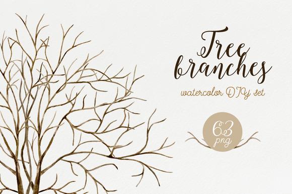 Tree Branches Watercolor DIY Set