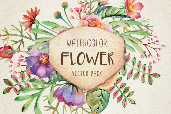 Watercolor Flower Vector Pack