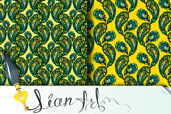 2 Seamless Pattern Peacock Feathers