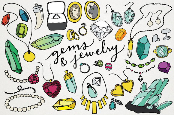 Gems Jewelry Clipart Illustrations