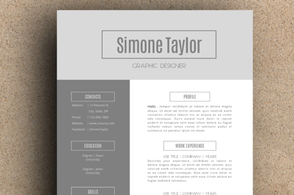 The Simone Resume Pack Grey