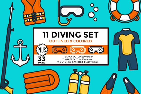 Diving Set Outlined Colored