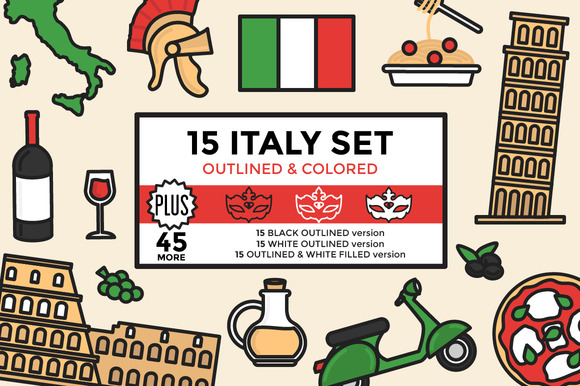Italy Set Outlined Colored
