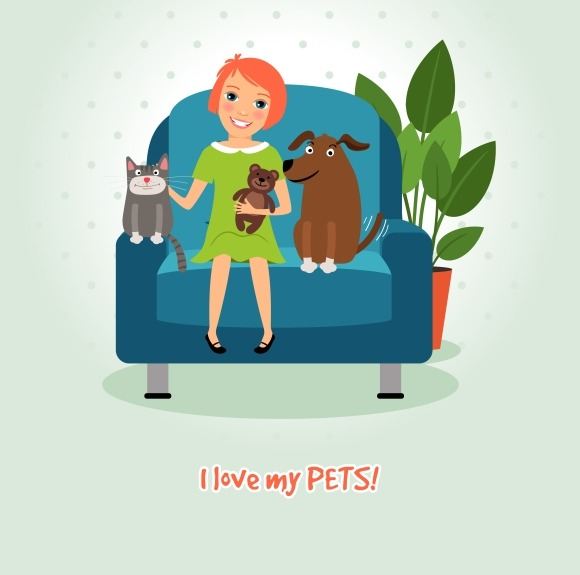 Love My Pets Girl On Armchair