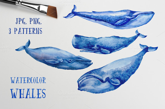 Watercolor Whales Patterns