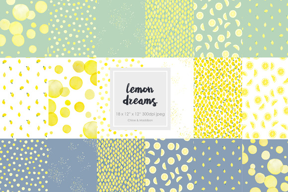 Lemon Dreams Watercolor Patterns