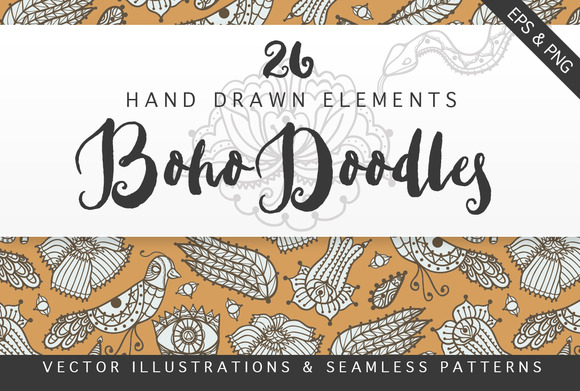 Boho Doodles Illustrations Set