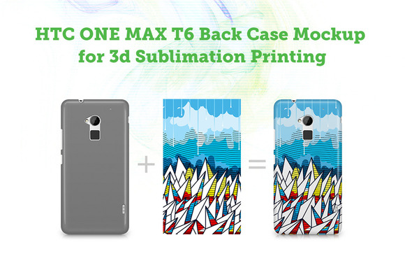 HTC One Max T6 3D Case Mockup