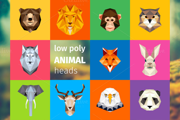 Animal Heads Low Poly Illustrations