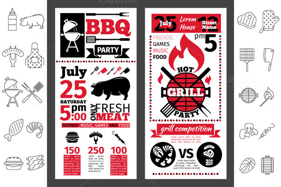 Barbecue Party Invitation Line Icon