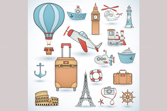 Travel Set Icons Collection