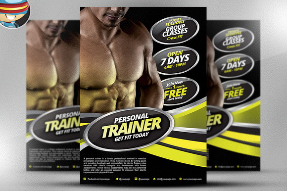 personal trainer flyer template free designtube creative design content. Black Bedroom Furniture Sets. Home Design Ideas