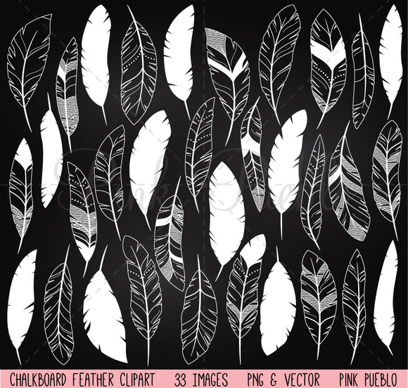 Chalkboard Feather Clipart Vectors