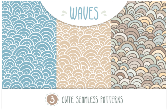 WAVES Set Of 3 Seamless Patterns