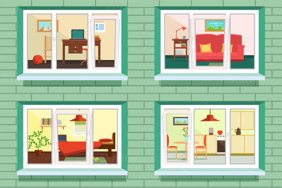 Vector Window View Of Flat Design