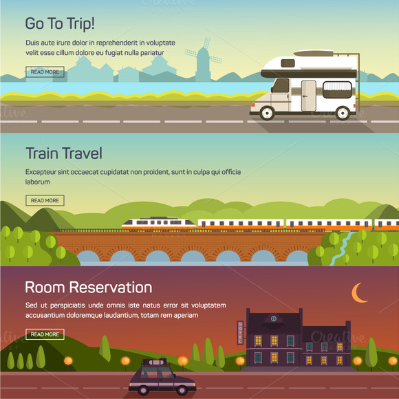 Vector Set Illustrations Of Travel