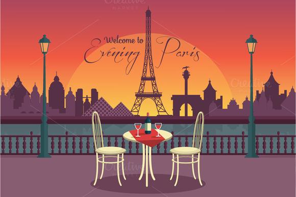 View Of Vector Evening Paris