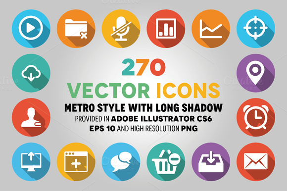 270 Vector Icons Flat Style