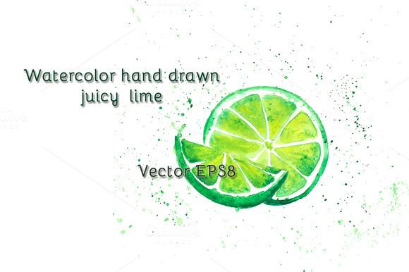 Watercolor Juicy Lime Vector