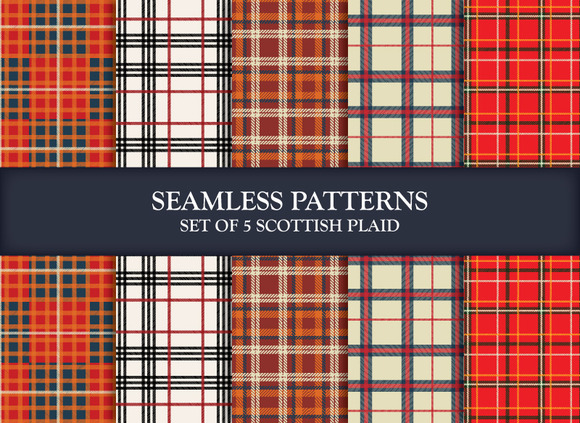5 Scottish Plaids Seamless Patterns