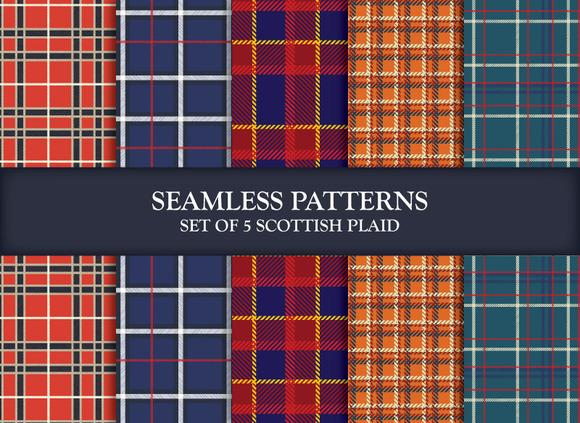 5 Seamless Patterns Scottish Plaids