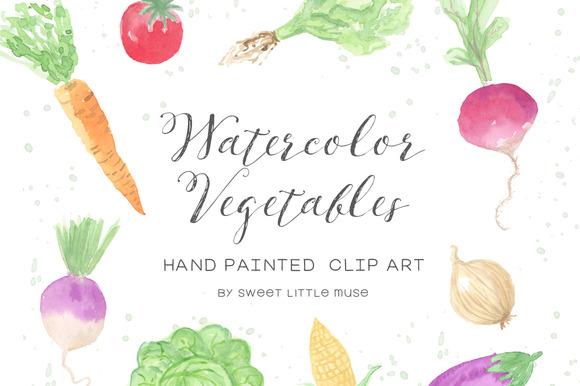 Watercolor Vegetable Clip Art