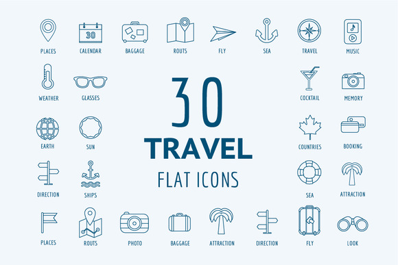 Travel Vector Logo Icons Set