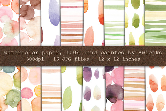 Watercolor Paper Stripes Dots