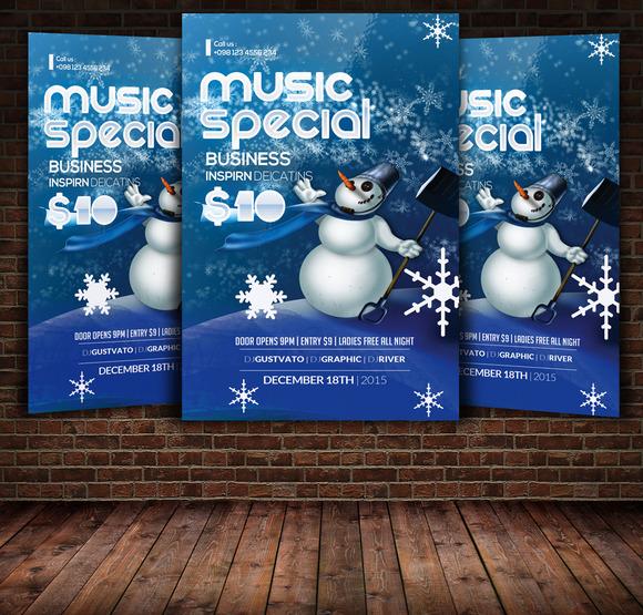 Snowman Winter Flyer Template