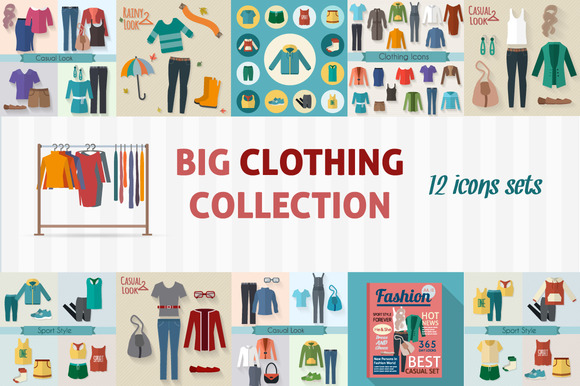 Clothing Icons Flat Collection