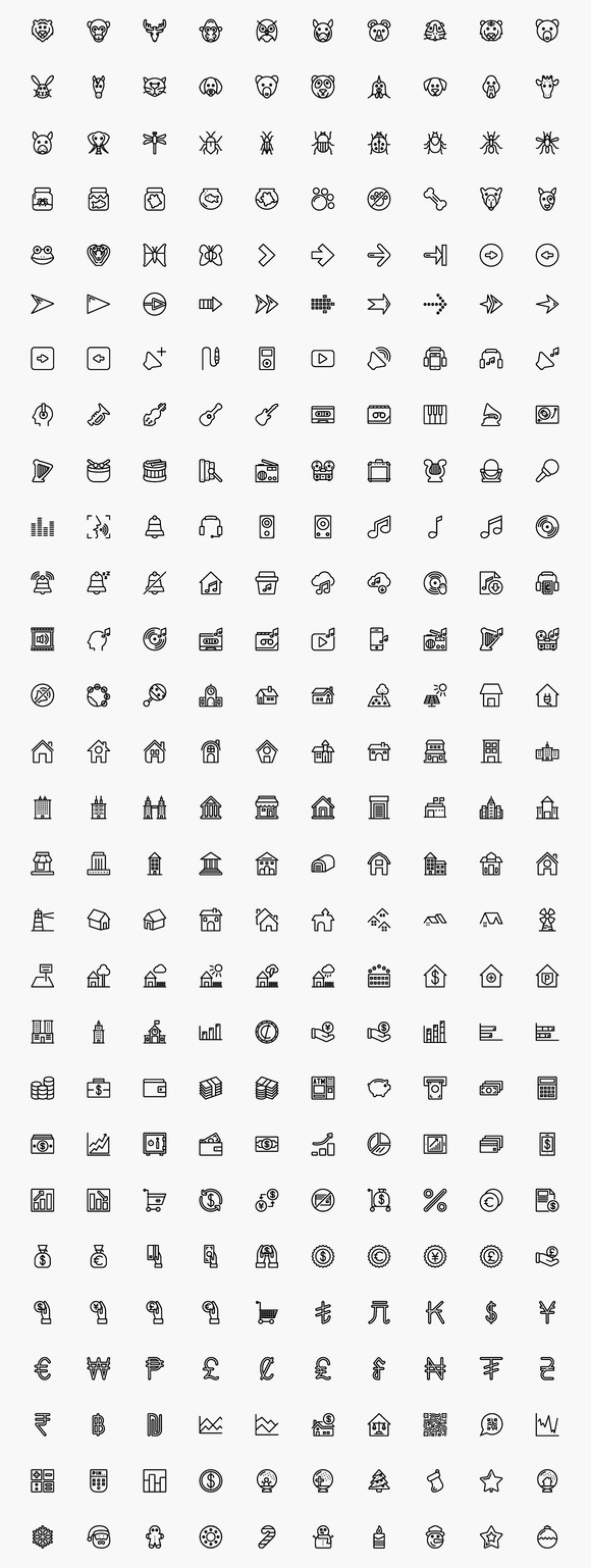 1 200 Awesome Strokeicon Set