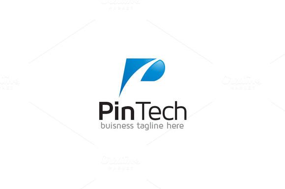 P Letter Logo Pin Tech