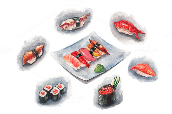 Watercolor Sushi Set
