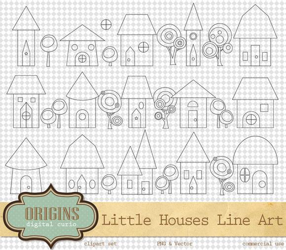Cute Little Houses Clipart Line Art