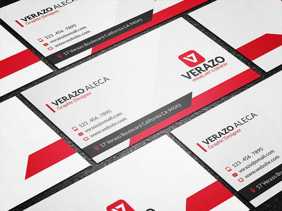 Modern Red Creative Business Card