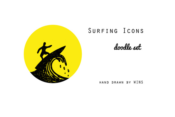Surfing Icons Doodle Set