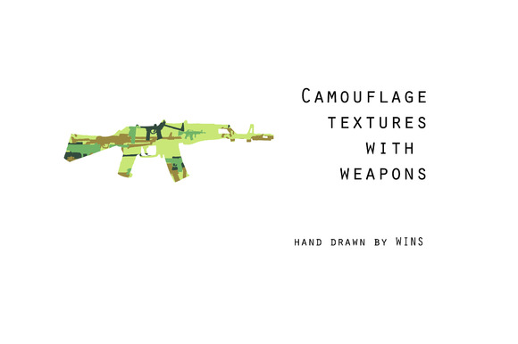 Six Camouflage Textures With Weapons
