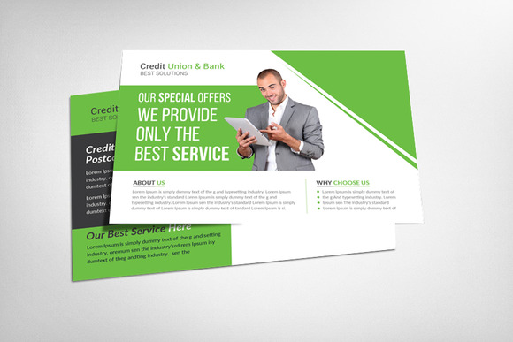 Credit Union Bank Postcard
