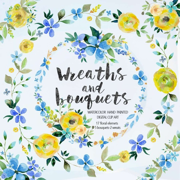 Watercolor Bouquets Wreaths Vol.1