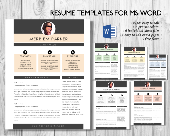 Creative 2 In 1 Photo Word Resume