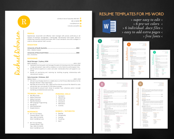 Stylish Script 2 In 1 Word Resume