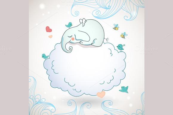 Cute Elephant Sleeping On The Cloud