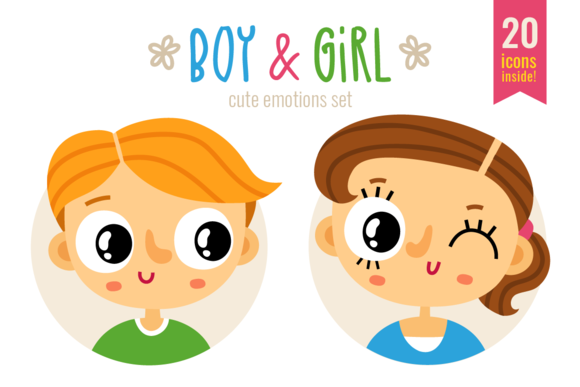Boy Girl Cute Emotions Set