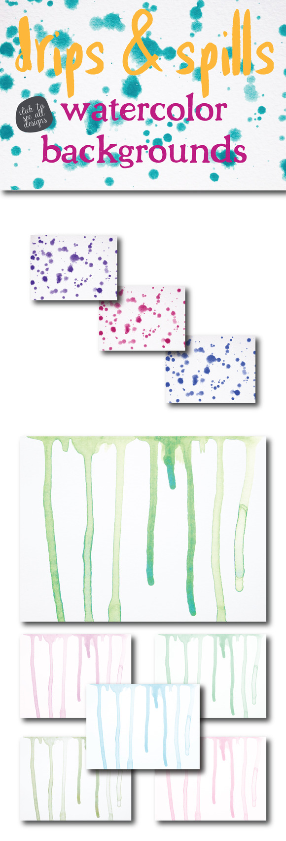 Drips Spills Watercolor Backgrounds